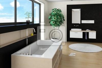 Moderne design-badezimmer-interieur mit stylisch badewanne ...