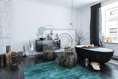 Moderne designer-badezimmer interieur mit schwarzem dekor ...