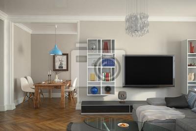 Fototapete: Moderne eingerichtete altbauwohnung mit wohnzimmer und esszimmer