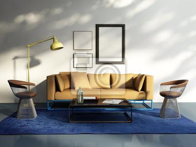 Fototapete Moderne Elegante Frische Wohnzimmer, Beige Sofa Im Sonnenlicht