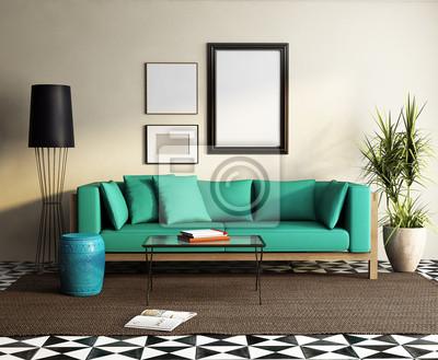 Fototapete Moderne Elegante Grüne Sofa, Frisch Marokkanischen Wohnzimmer