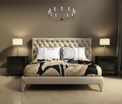 Fototapete Moderne Elegante Luxus Beige Und Grau Schlafzimmer
