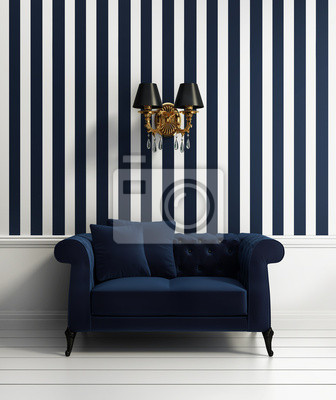 Fototapete: Moderne elegante luxus flur mit blauen streifen tapete