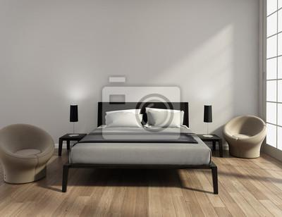 Moderne elegante luxus grauen schlafzimmer fototapete • fototapeten ...