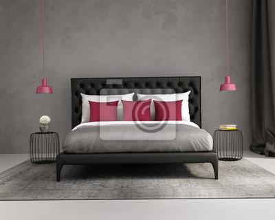 Fototapete Moderne Elegante Luxus Rot Und Grau Schlafzimmer