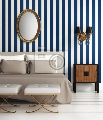 Moderne elegante luxus-schlafzimmer mit blauen streifen ...
