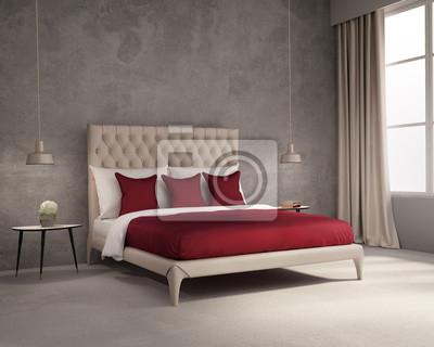 Fototapete Moderne Elegante Luxus Tief Rot Und Grau Schlafzimmer