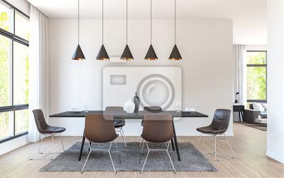 Fototapete Moderne Esszimmer Dekorieren Mit Braunen Ledermöbeln  3D Rendering Image.There Sind Große Fenster