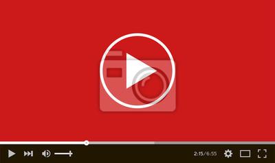 Fototapete Moderne flache Video-Player-Schnittstelle. Abbildung.