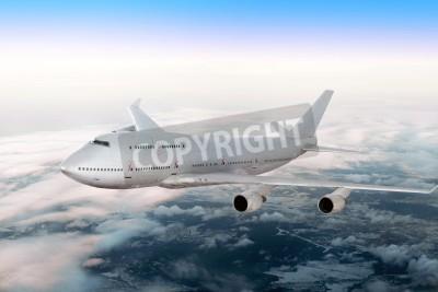 Fototapete Moderne Flugzeug über den Wolken.