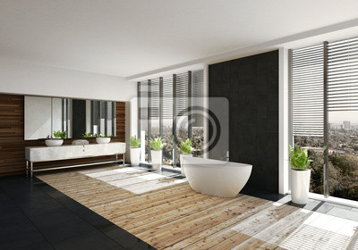 Fototapete: Moderne freistehende badewanne in luxus badezimmer mit holzboden