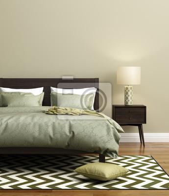Moderne Frische Elegante Grüne Schlafzimmer Mit Teppich Fototapete