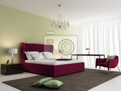 Moderne frische elegante rot schlafzimmer mit teppich fototapete ...
