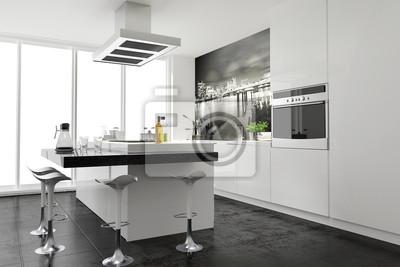 Moderne funktional weiss küche einbauküche kochinsel ...
