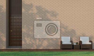 Moderne Gebaude Terrasse Im Garten Dekorieren Wand Mit Backstein