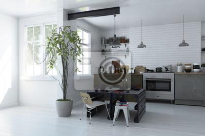Fototapete: Moderne geräumige offene küche interieur