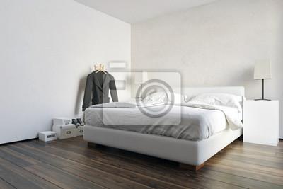 Moderne geräumige weiße schlafzimmer interieur fototapete ...
