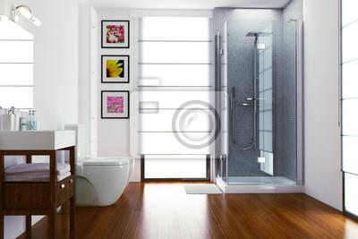 Fototapete Moderne Helles Bad Mit Dusche Und WC