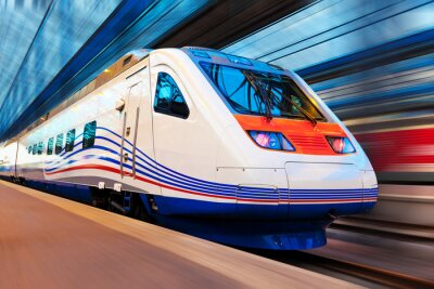 Fototapete Moderne High-Speed-Zug mit Bewegungsunschärfe