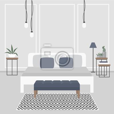 Moderne Innenarchitektur Skandinavischer Stil Doppelbett