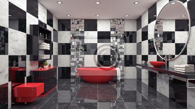 Moderne innenarchitektur von badezimmer 3d übertragen illustration ...