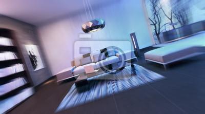 Fototapete Moderne Innenarchitektur Wohnzimmer (3d Render)