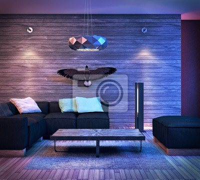 Fototapete Moderne Innenarchitektur Wohnzimmer Mit Wilden Tieren (3d Render)