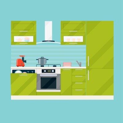 Fototapete Moderne Interieur Küche Zimmer In Grüntönen. Küchengeräte Und   Geräte. Flache Vektor