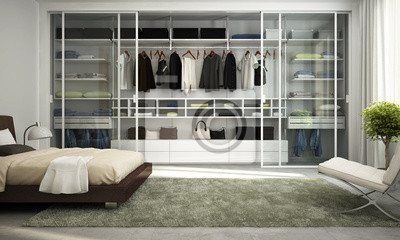 Moderne kleiderschrank im schlafzimmer fototapete • fototapeten ...