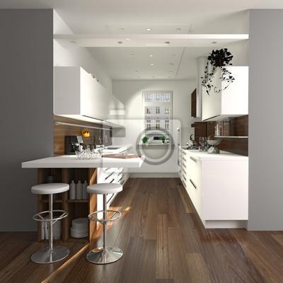 Moderne kleine küche fototapete • fototapeten Innenräume, High-Tech ...