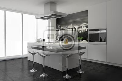 Moderne kleine küche mit theke und wandtattoo wandbild fototapete ...