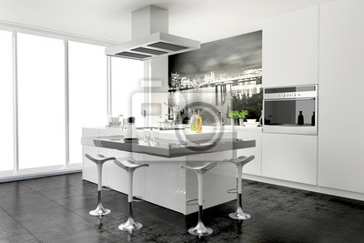 Moderne kleine küche mit theke und wandtattoo wandbild ...