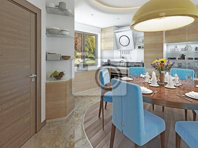 Moderne küche esszimmer im stil von kitsch. fototapete • fototapeten ...