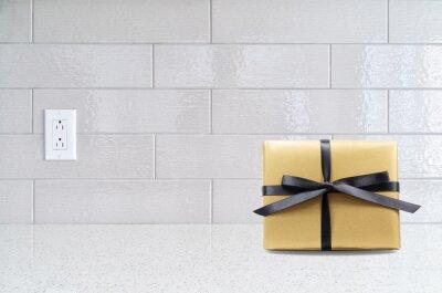Fototapete: Moderne küche granit arbeitsplatte gegen grau keramik backspla