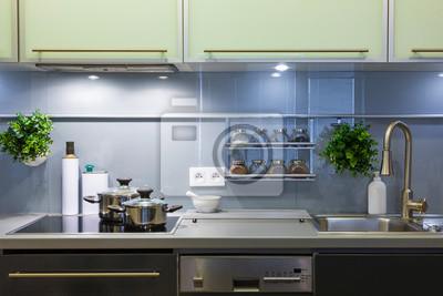 Moderne Kuche In Grauen Farben Zu Hause Mit Geschirr Fototapete