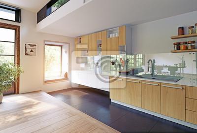Moderne küche interieur fototapete • fototapeten appartment, Treppe ...