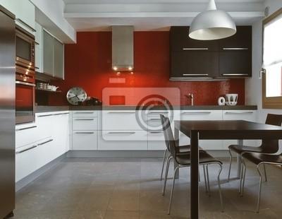 Moderne küche mit einer show der roten fliesen fototapete ...