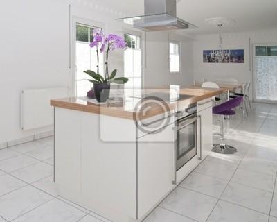 Moderne küche mit essplatz fototapete • fototapeten Neubau ...