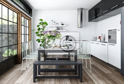 Fototapete Moderne Küche Mit Esstisch
