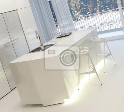 Moderne küche mit illuminated insel und hocker fototapete ...