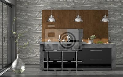 Moderne küche mit kochinsel fototapete • fototapeten ...