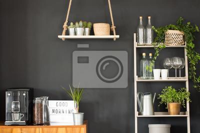 Moderne küche mit schwarzer wand fototapete • fototapeten appartment ...