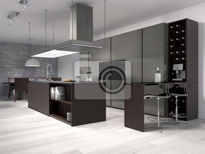 Moderne küche mit weinregal fototapete • fototapeten Innenräume ...
