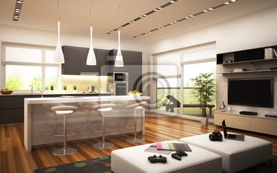 Moderne küche und wohnzimmer fototapete • fototapeten Innenräume ...