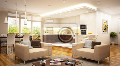 Moderne küche und wohnzimmer fototapete • fototapeten appartment ...
