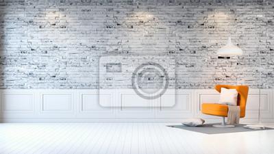 Fototapete Moderne Loft Interieur, Wohnzimmer, Weißen Holzfußboden, Gelben  Sessel Und Weiße Lampe