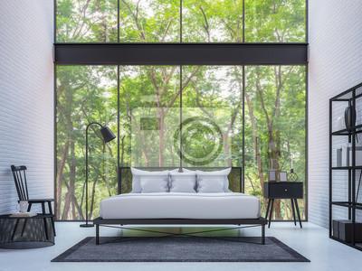 Fototapete Moderne Loft Schlafzimmer Mit Blick Auf Die Natur 3d Rendering Bild