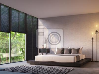 Moderne loft schlafzimmer mit natur blick 3d rendering bild möbliert ...