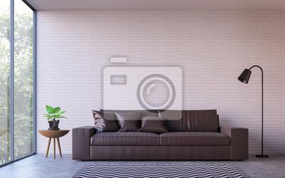 Moderne loft wohnzimmer mit natur blick 3d rendering bild mit ...