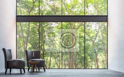 Moderne loft wohnzimmer mit natur blick 3d rendering bild möbliert ...